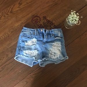 Country Blue jean shirts with lace detail
